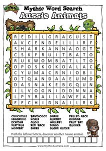 australian animals word search pdf