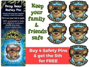 Mythic Australia Drop Bear Safety Pin Family pack