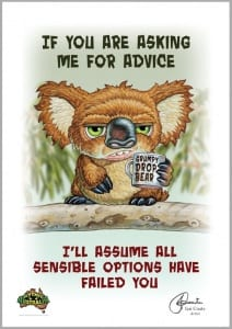 Grumpy Drop Bear- Advice Image