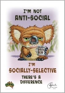 Grumpy Drop Bear- Anti Social Image