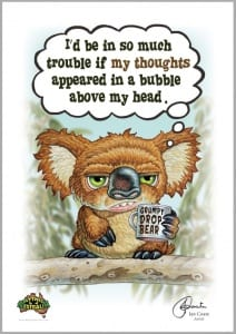 Grumpy Drop Bear - Thoughts in a bubble Image